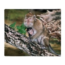 Long-tailed macaque mother and baby Throw Blanket