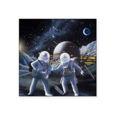 "Lunar survey team Square Sticker 3"" x 3"""