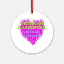 Veteran Caregiver Heart 2.0 Round Ornament