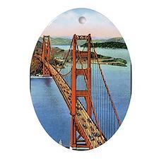 Vintage Golden Gate Bridge Oval Ornament