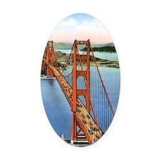 Vintage Golden Gate Bridge Oval Car Magnet
