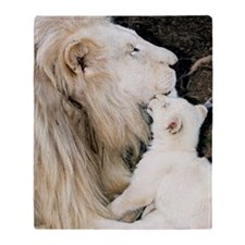 Male white lion and cub Throw Blanket