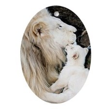 Male white lion and cub Oval Ornament