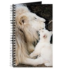 Male white lion and cub Journal