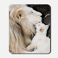Male white lion and cub Mousepad