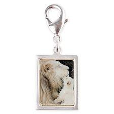 Male white lion and cub Silver Portrait Charm