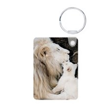 Male white lion and cub Keychains
