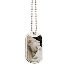 Male white lion and cub Dog Tags