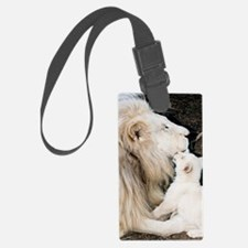 Male white lion and cub Luggage Tag
