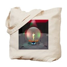 Man silhouetted in the virtual reality cy Tote Bag