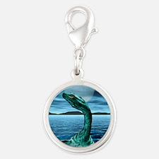 Loch Ness Monster Silver Round Charm