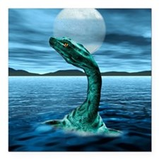 "Loch Ness Monster Square Car Magnet 3"" x 3"""