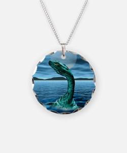 Loch Ness Monster Necklace Circle Charm