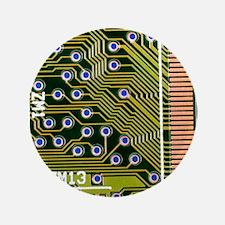 "Macrophotograph of printed circuit boa 3.5"" Button"