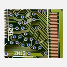 Macrophotograph of printed circuit b Throw Blanket