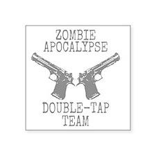 "Zombie Apocalypse Double Ta Square Sticker 3"" x 3"""