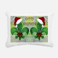 Santa Christmas Fleur de Rectangular Canvas Pillow