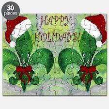 Santa Christmas Fleur de lis Puzzle