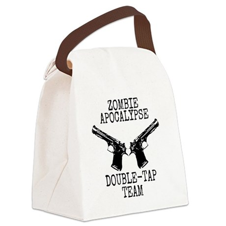 Zombie Apocalypse Double Tap Team Canvas Lunch Bag