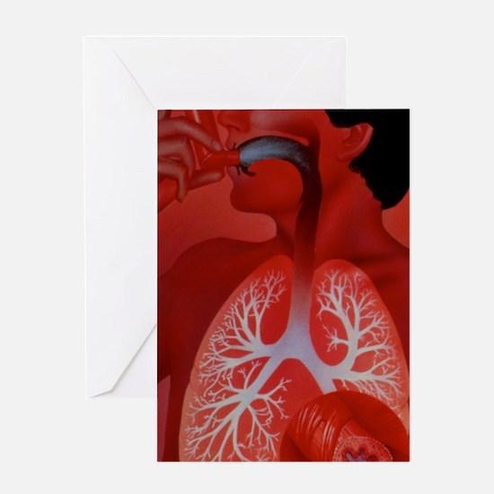 Asthma inhaler use Greeting Card