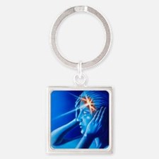 Artwork of woman with head split s Square Keychain