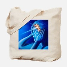Artwork of woman with head split showing  Tote Bag