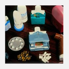 Assorted inhalers and drugs for asthm Tile Coaster