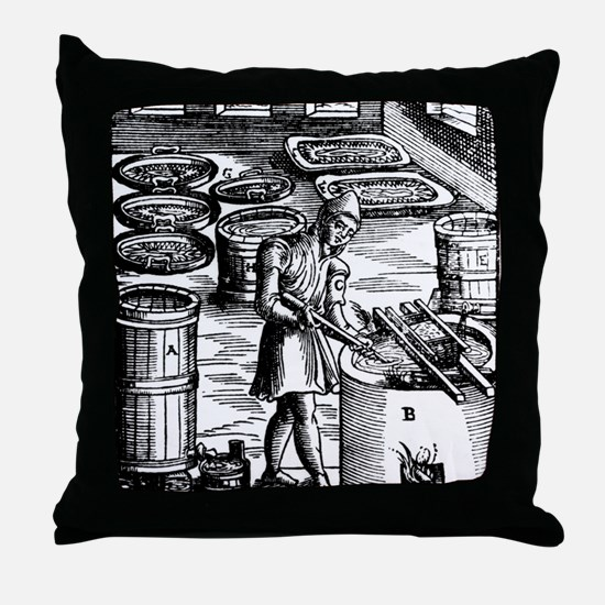 Manufacture of saltpetre for use in g Throw Pillow