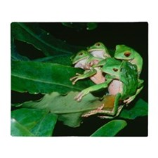 Mating green tree frogs Throw Blanket