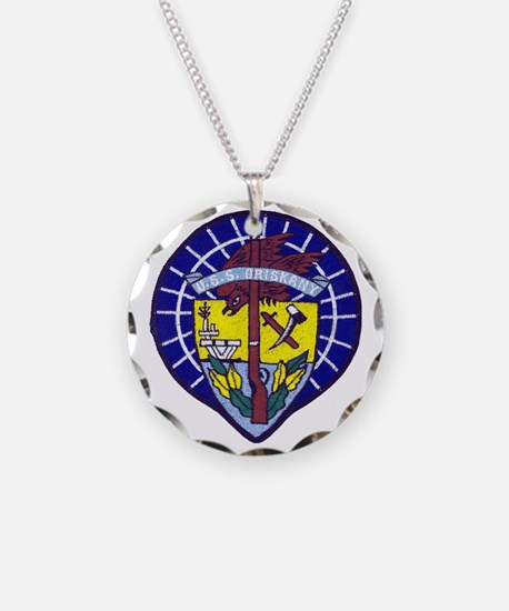 uss oriskany patch transpare Necklace
