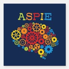 "Aspie Brain Autism Square Car Magnet 3"" x 3"""