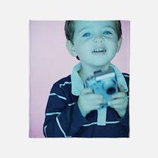 Boy with digital camera Throw Blanket