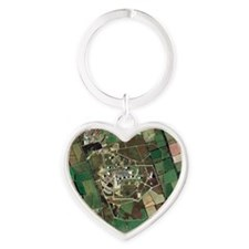 Menwith Hill spy base, aerial image Heart Keychain