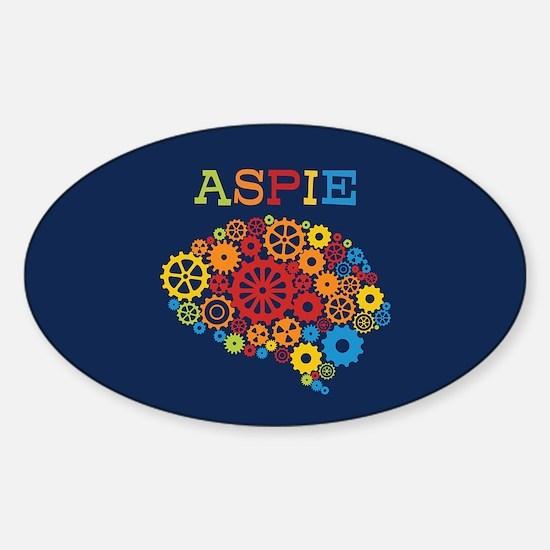 Aspie Brain Autism Sticker (Oval)
