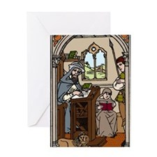 Monk transcribing a book Greeting Card