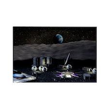 Moon base Rectangle Magnet
