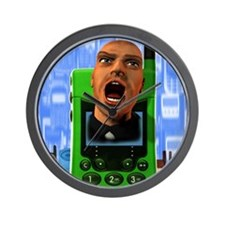 Mobile phone rage Wall Clock