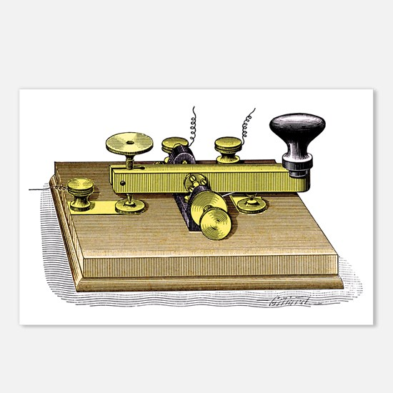 Morse telegraph key Postcards (Package of 8)