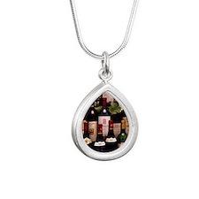 Bottles of wine Silver Teardrop Necklace