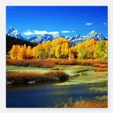 "Fall Mountains Square Car Magnet 3"" x 3"""