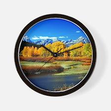 Fall Mountains Wall Clock