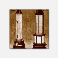 """Miners' safety lamps Square Sticker 3"""" x 3"""""""