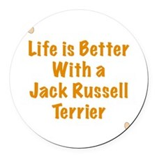 Life is better with a Jack Russel Round Car Magnet