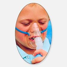 Boy using an inhaler for asthma Decal