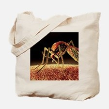 Mosquito sucking blood, computer artwork Tote Bag
