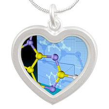 Molecular design Silver Heart Necklace