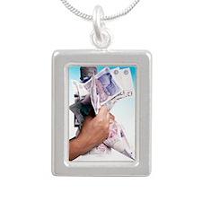 Money Silver Portrait Necklace