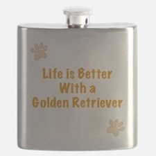 Life is better with a Golden Retriever Flask