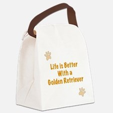 Life is better with a Golden Retr Canvas Lunch Bag