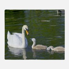 Mute swan and cygnets Throw Blanket
